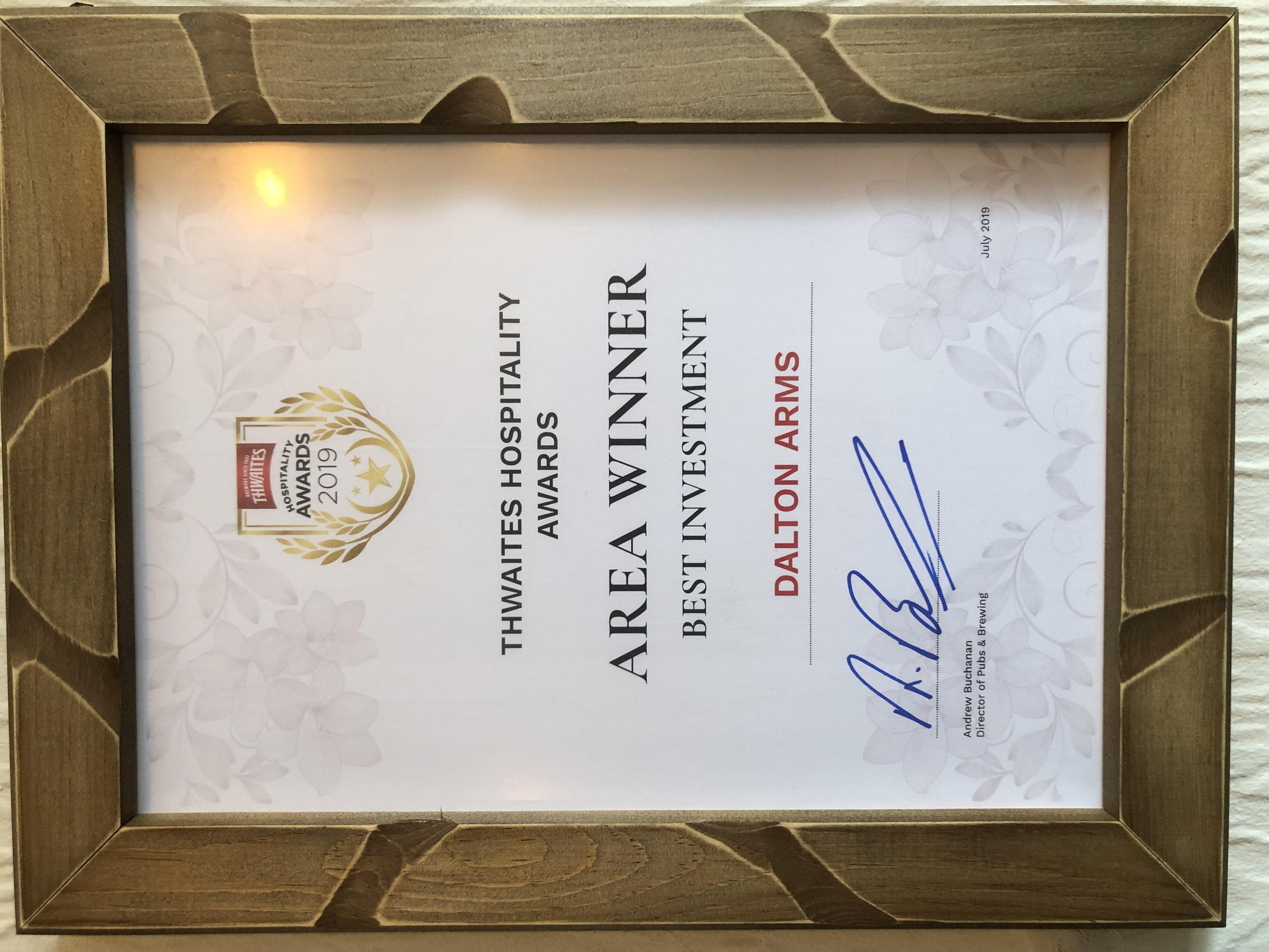 It's Official 'THWAITES HOSPITALITY AWARD AREA WINNER 2019'