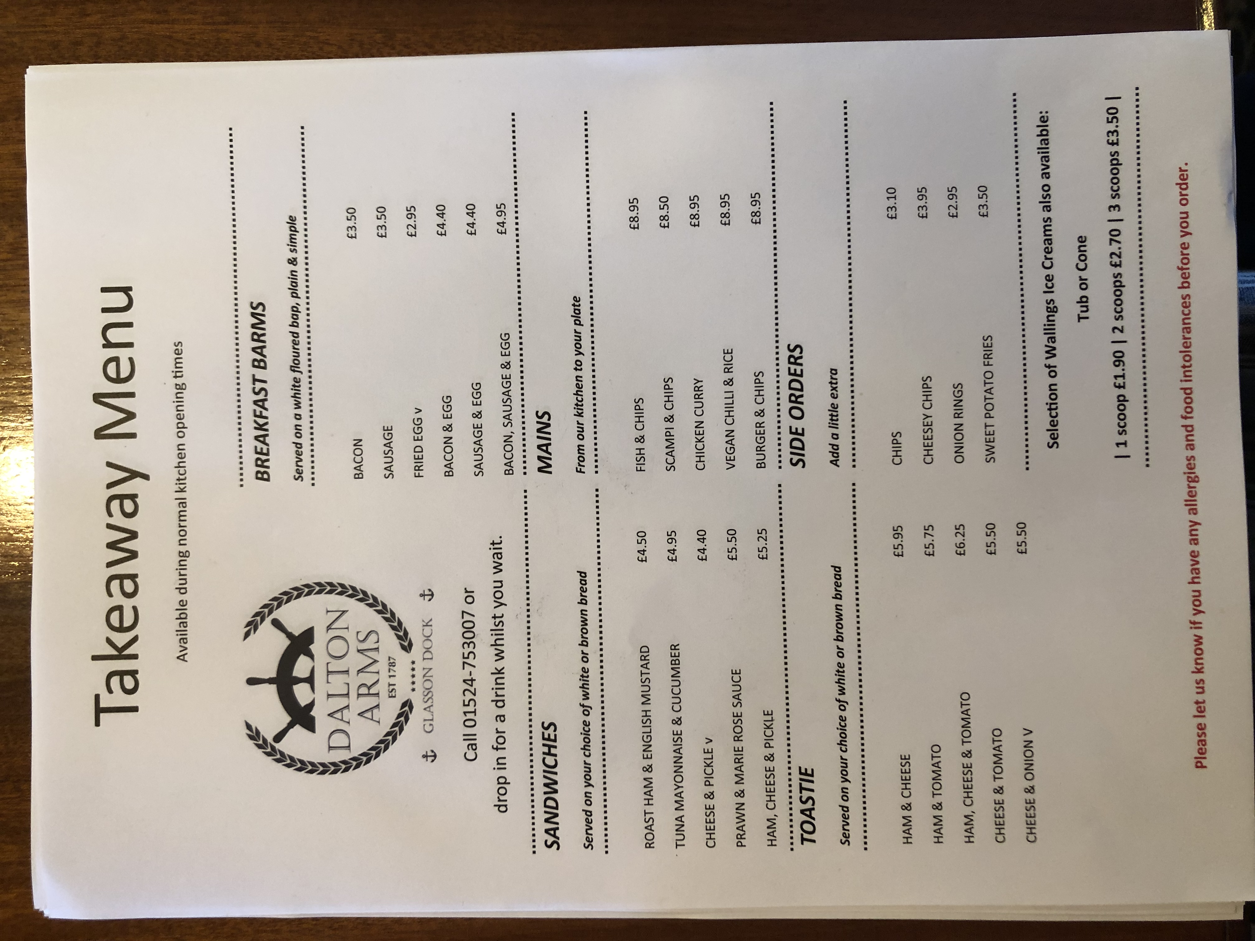 Why not try something from our new takeaway menu