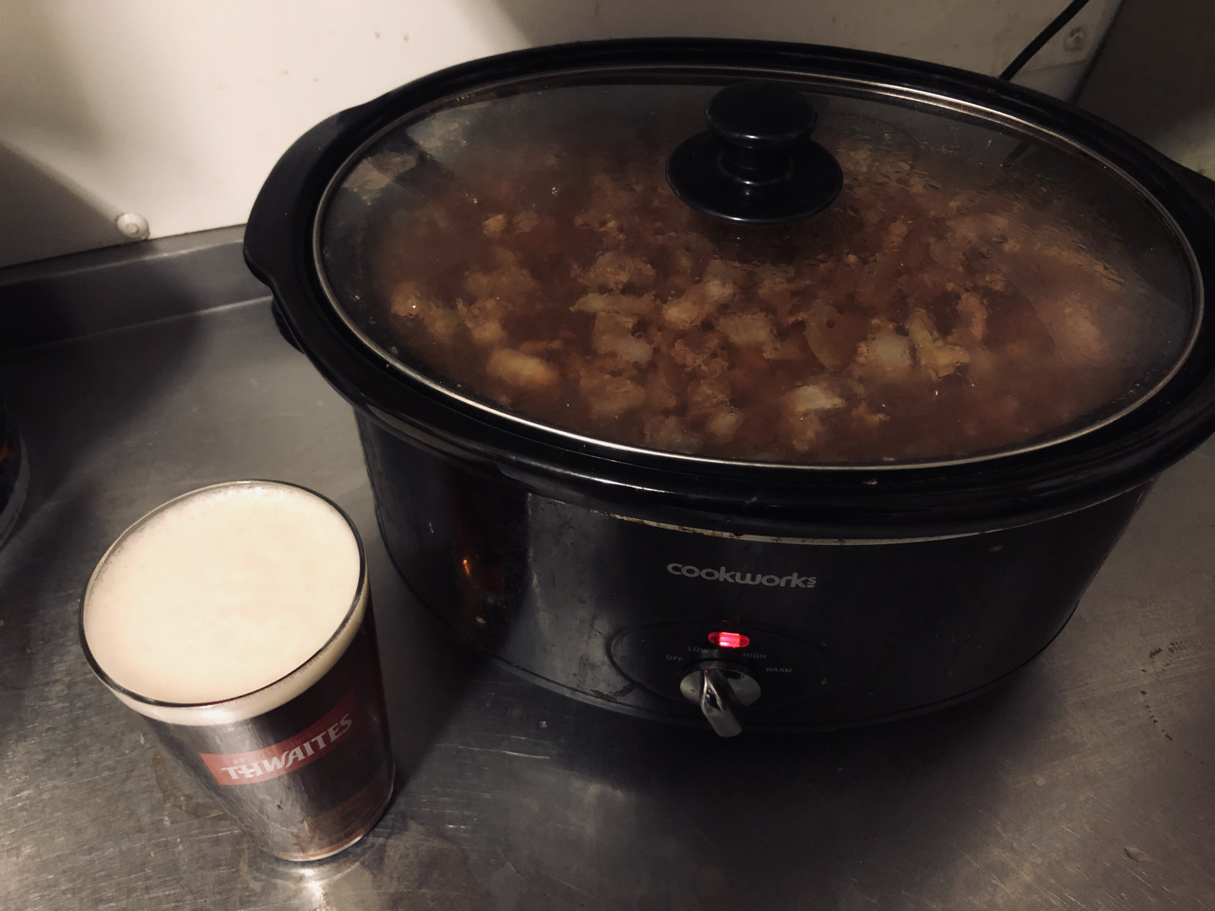 Fresh batch of our signature Thwaites' Steak & Ale bubbling in the pot