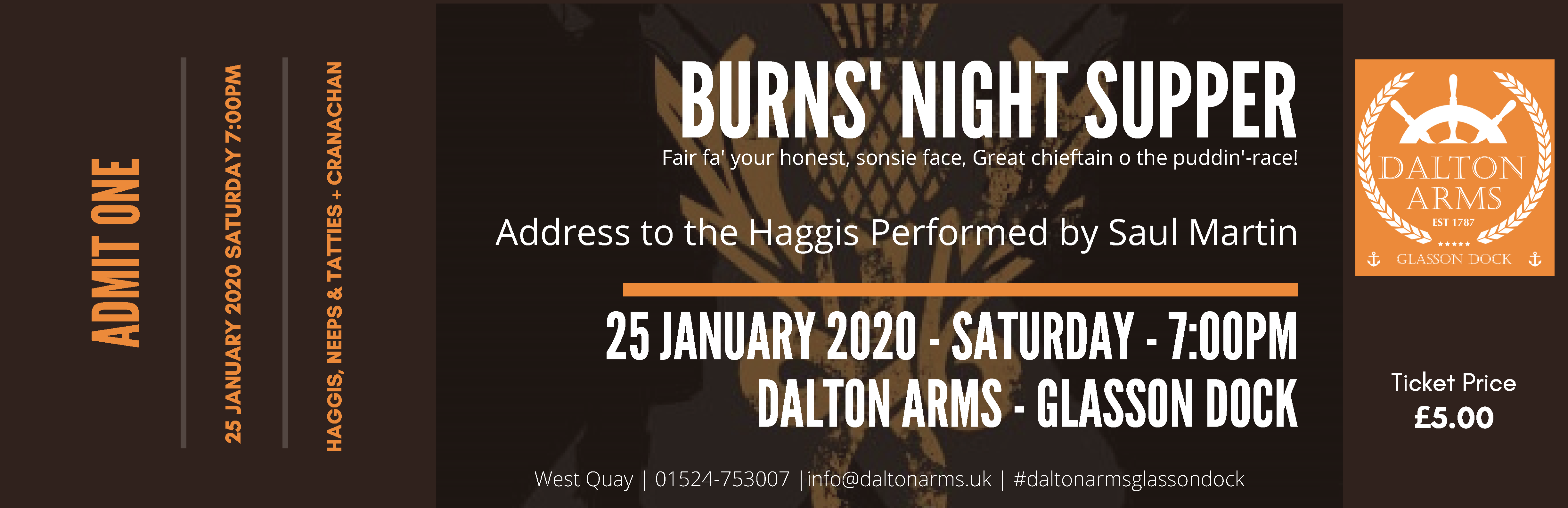 Burns' Supper Tickets now available, spread the word…